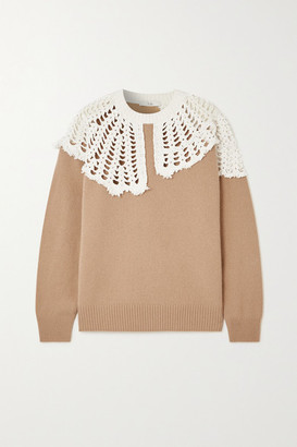 Tibi Lana Crocheted Cotton And Wool Sweater - Sand