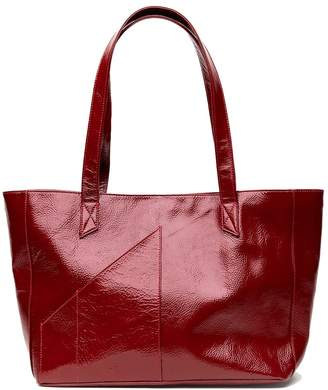 Holly & Tanager Commuter Tote Bag In Red Patent Leather