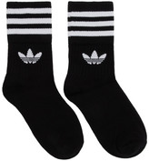 adidas Three-Pack Black Solid Crew Socks