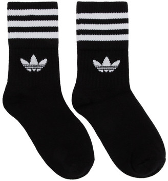 adidas Three-Pack Black Solid Crew Socks