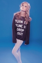 Wildfox Couture Penny Lane Turn on Tune In Sweater in Dirty Black