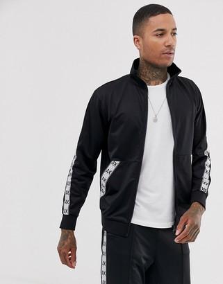 Armani Exchange taped lightweight track jacket in black