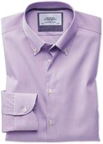 Extra Slim Fit Button-down Business Casual Non-iron Violet Stripe Cotton Formal Shirt Single Cuff Size 14.5/32 By Charles Tyrwhitt