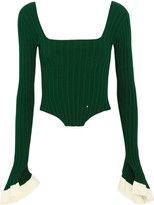 Esteban Cortazar Cropped Ribbed-knit Top - Green