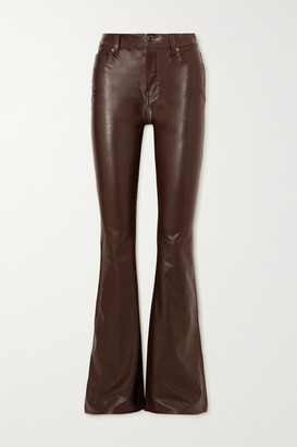 Veronica Beard Beverly Faux Leather Flared Pants - Burgundy