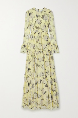 Erdem Alvaro Tiered Floral-print Silk Crepe De Chine Gown - Chartreuse