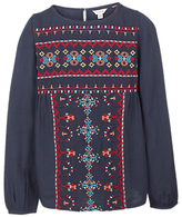 Fat Face Girls' Long Sleeve Embroidered Blouse, Navy