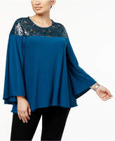 Alfani Plus Size Sequined Bell-Sleeve Blouse, Created for Macy's