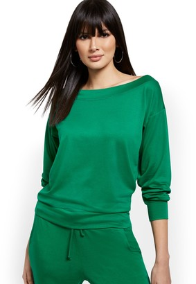 New York & Co. Dreamy French Terry Boatneck Lounge Pullover Sweatshirt