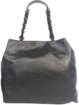 Chanel Black Leather CC Vintage Chain Tote