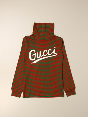 Gucci Turtleneck In Striped Jersey With Logo