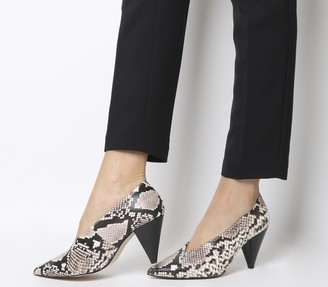 Office Motor Cone Heel Courts Natural Snake Leather