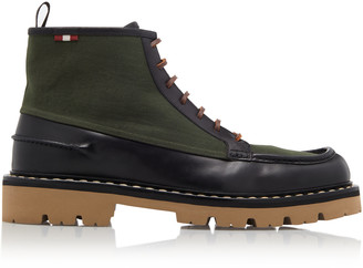 Bally Lysius Canvas-Paneled Leather Ankle Boots