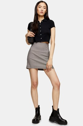 Topshop Womens Mini Check Stretch Skirt - Multi