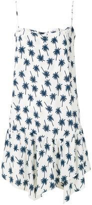 Track & Field Palm Print Ruffle Trim Dress