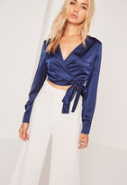 Missguided Long Sleeve Satin Wrap Front Crop Navy