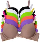 B.ella Neutral & Bright Contrast-Strap Seamless Push-Up Bra Set - Plus Too