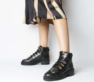 Office Abundance Amped Up Hiker Boots Black Croc Leather Gold Hardware