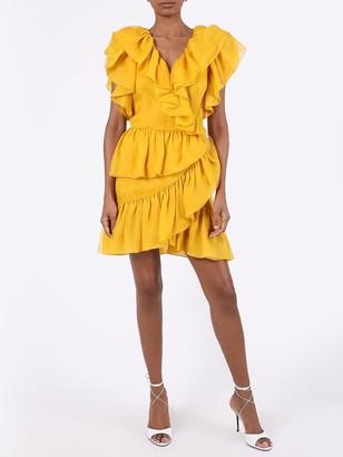 Dundas Yellow Ruffled Wrap Dress