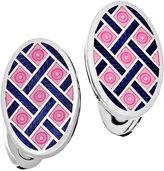 Jan Leslie Crisscross & Dot Enameled Oval Cuff Links, Pink/Navy