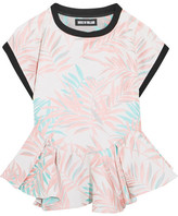 House of Holland Palm Leaf Jersey-trimmed Jacquard Peplum Top - Baby pink