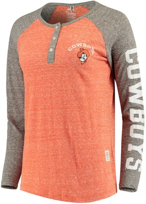 Unbranded Women's Pressbox Orange Oklahoma State Cowboys Avery Knobi Raglan Henley Tri-Blend Long Sleeve T-Shirt