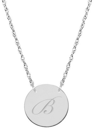 Jane Basch 14K White Gold Initial Disc Necklace (A-Z)