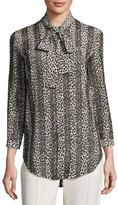 Nina Ricci Striped Leopard-Print Silk Blouse