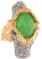Alexis Bittar Moss Agate & Crystal Double Lion Cocktail Ring