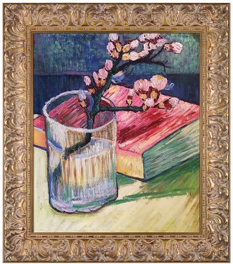 Blossoming Almond Branch in a Glass with a Book, 1888 by Vincent Van Gogh Framed Hand Painted Oil Reproduction