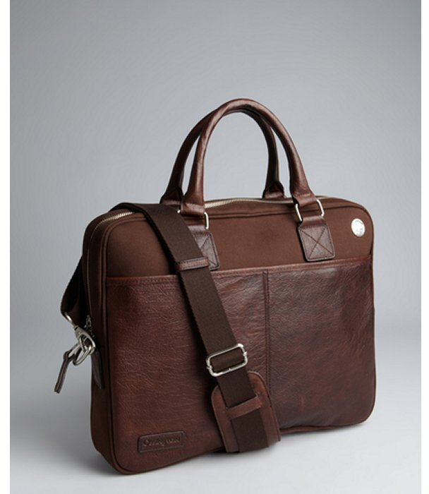 Ossington brown brushed twill and bison leather trim zip top briefcase
