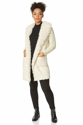 Roman Originals Women Longline Faux Shearling Knit Coatigan - Ladies Everyday Autumn Winter Daywear Waterfall Cosy Warm Knitted Chunky Thick Cardigans Long Sleeve Coatigans - Ivory - Size 16