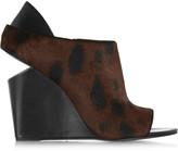Alexander Wang Alla leopard-print calf hair wedge mules