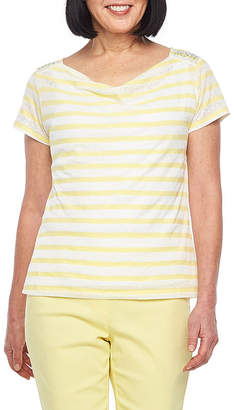 HEARTS OF PALM Hearts Of Palm Sunny Side Up-Womens Draped Neck Short Sleeve T-Shirt