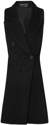 Ann Demeulemeester Open-back Satin Twill-paneled Herringbone Wool-blend Vest