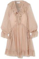 Zimmermann Ruffled Polka-dot Silk-georgette Mini Dress - Cream