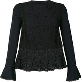 See by Chloe sheer hem lace blouse - women - Cotton/Polyester - XS