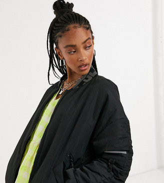 Collusion Unisex MA1 bomber jacket with ruched sleeve detail in black