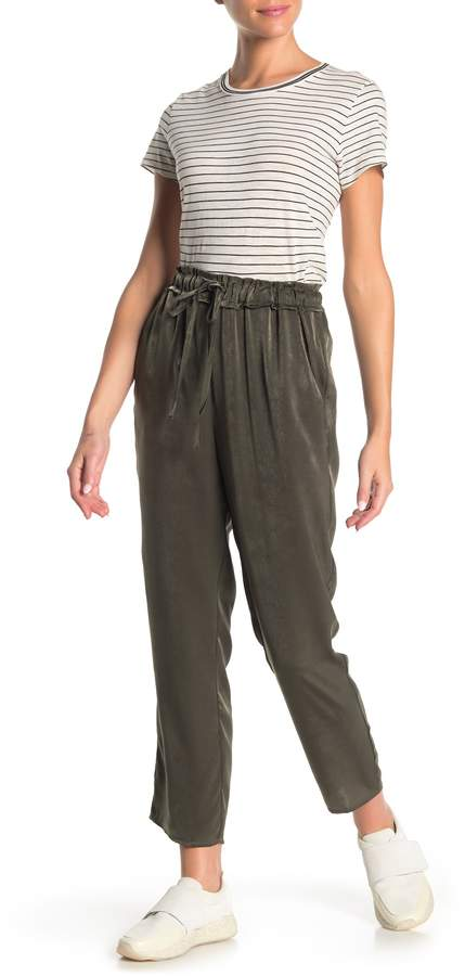 Free Press High Waisted Pull-On Satin Pants