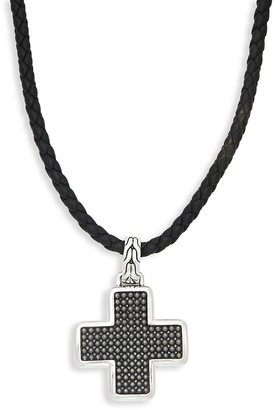 John Hardy Leather Sterling Silver Cross Pendant Necklace