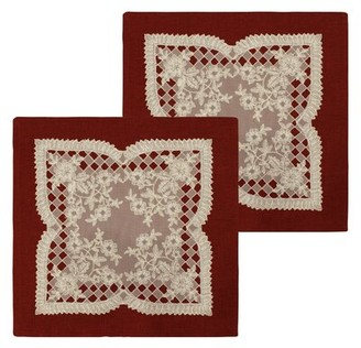 Bounce Comfort Caisey Lace and Embroidery Applique Pillow Cover Color: Burgundy