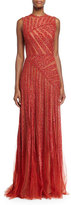 Elie Saab Sleeveless Linear-Beaded Gown, Cadillac