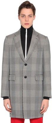 Versace Checked Wool Gabardine Coat