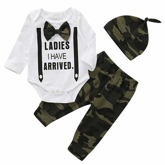Haokaini 3Pcs/Set Newborn Baby Boy Gentleman Outfit Romper Plaid Camo Pants Hat for Infant Toddler