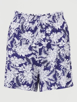 Very 2 Pack Shirred Hem Jersey Shorts - Navy Print/Grey