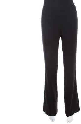 Escada Black Stretch Wool Crepe High Waist Straight Leg Trousers M