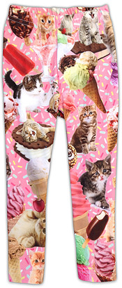 Urban Smalls Girls' Leggings Multi - Pink Kittens & Ice Cream Toastie Leggings - Toddler & Girls