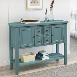 Longshore Tides Gluck 46'' Solid Wood Console Table Color: Dark Blue