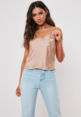 Missguided Nude Satin Cami Top