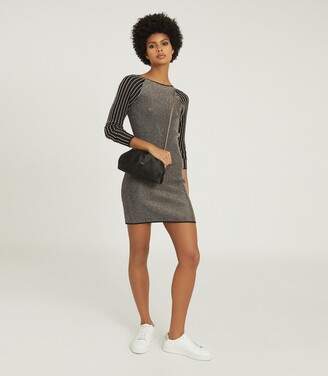 Reiss Marina - Metallic Knitted Bodycon Dress in Black/gold